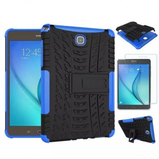 Hybrid Outdoor Tasche Blau für Samsung Galaxy Tab A 9.7 T550 + 0.4 H9 Hartglas