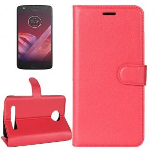 Tasche Wallet Premium Rot für Motorola Moto Z2 Play Hülle Case Cover Etui Schutz