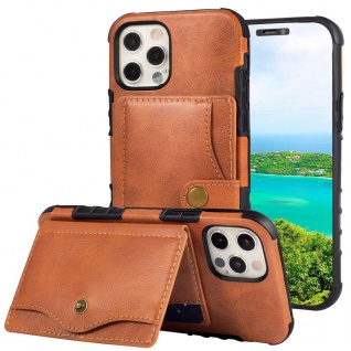 Für iPhone 12 / 12 Pro Lederoptik Case TPU Band Schutz Hülle Cover Braun