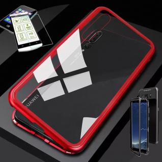Für Huawei P20 Lite Magnet Glas Tasche Case Rot / Transparent + 0, 26 H9 Glas Neu