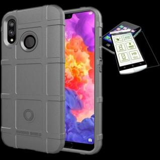 Für Huawei P20 Lite Tasche Shield TPU Silikon Hülle Grau + 0, 26 mm H9 Glas Cover