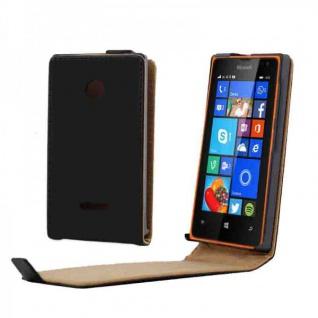 Schutzhülle Schwarz für Nokia Lumia 435 Flipcase Tasche Hülle Case Schutz Cover