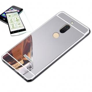 Alu Bumper 2 teilig Silber + 0, 3 H9 Glas für Huawei Honor View 10 / V10 Tasche