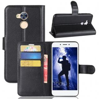 Tasche Wallet Premium Schwarz für Huawei Honor 6A Hülle Case Cover Etui Neu