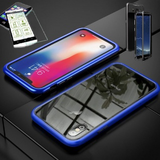 Für Apple iPhone XS MAX Magnet Glas Tasche Blau / Transparent + 0, 26 H9 Glas Neu