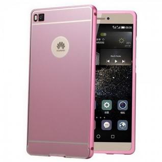 Alu Bumper 2 teilig mit Abdeckung Rosa für Huawei Ascend P8 Tasche Hülle Cover