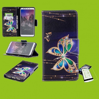 Für Huawei P30 Lite Kunstleder Tasche Wallet Motiv 32 + H9 Glas Etuis Hülle Neu
