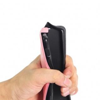 Flip Tasche Schwarz für Huawei New P8 Lite 2017 Hülle Case Etui Neu Schutz Top - Vorschau 3