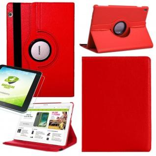 Für Huawei MediaPad M5 Lite Rot 360 Grad Etuis Tasche Kunst Leder + H9 Hart Glas