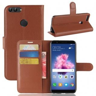 Tasche Wallet Premium Braun für Huawei Enjoy 7S / P Smart Hülle Case Cover Etui