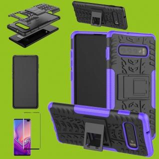 Hybrid Tasche Etuis Hülle Lila für Samsung Galaxy S10 Plus + 4D H9 Curved Glas