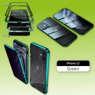 Beidseitiger Magnet Glas Bumper Privacy Grün für Apple iPhone 12 Mini Tasche Neu