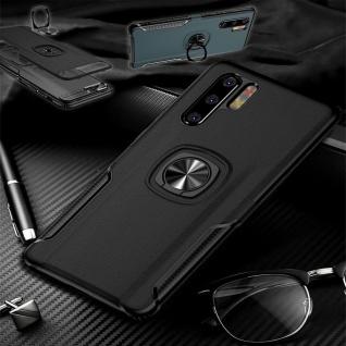 Für Huawei P30 Lite Magnet Metall Ring Hybrid Schwarz Tasche Hülle Etuis Cover