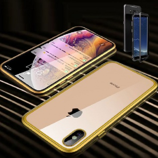 Für Apple iPhone X 10 XS 5.8 Magnet / Metall Glas Gold / Transparent Tasche Case