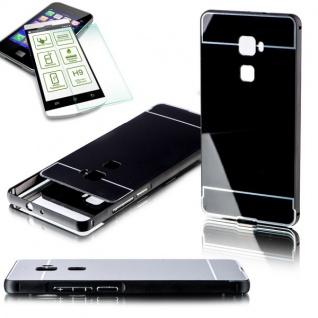 Alu Bumper 2 teilig Schwarz + 0, 3 mm H9 Panzerglas für Huawei Mate S 5.5 Tasche