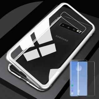 Für Samsung Galaxy S10 G973F Magnet Tasche Silber / Transparent + 0, 3 4D H9 Glas