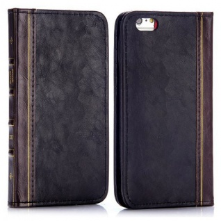 Tasche Book Retro Style für Apple iPhone 6 Plus 5.5 Hülle Case Etui Schutz Cover