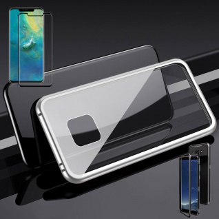 Für Huawei Mate 20 Pro Magnet Glas Tasche Silber / Transparent + 0, 3 4D H9 Glas