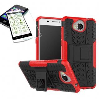 Hybrid Case Tasche Outdoor 2teilig Rot für Huawei Y6 2017 Hülle Hartglas Neu