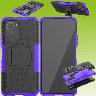 Für Xiaomi Redmi Note 10 / 10s Hybrid Case Outdoor Lila Handy Tasche Etuis Cover