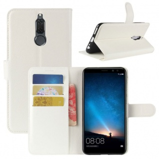 Tasche Wallet Premium Weiß für Huawei Mate 10 Lite Hülle Case Cover Etui Schutz