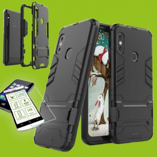 Für Xiaomi MI A2 Lite Tasche Metal Style Hybrid Case Hülle Schwarz + 0, 2 H9 Glas