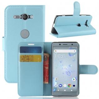 Tasche Wallet Premium Blau für Sony Xperia XZ2 Compact Hülle Case Cover Schutz