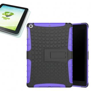 Hybrid Outdoor Hülle Lila für Apple iPad 9.7 2017 Tasche + H9 Hartglas Case
