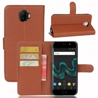 Tasche Wallet Premium Braun für Wiko Wim Hülle Case Cover Etui Schutz Neu Design