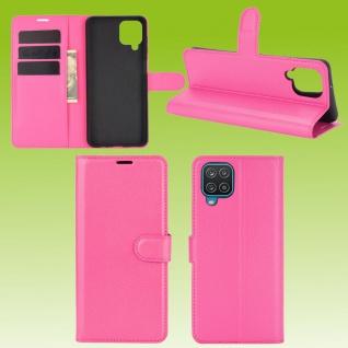 Für Samsung Galaxy A12 A125F Handy Tasche Pink Etuis Kunst-Leder Cover Hülle Neu