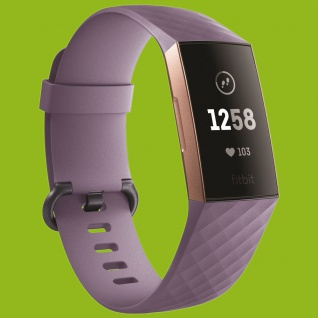 Für Fitbit Charge 3 Kunststoff Silikon Armband für Männer Größe L Hell-Lila Uhr
