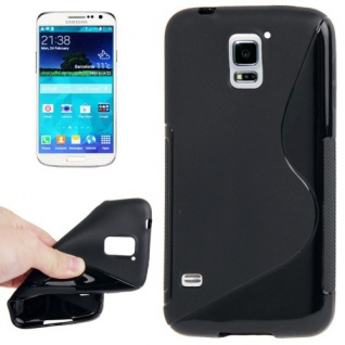 Silikonhülle S-Line Schwarz Cover Case Hülle für Samsung Galaxy S5 Mini G800 Neu
