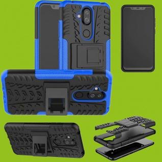 Für Nokia 3.1 Plus 6.0 Zoll Hybrid Case 2teilig Outdoor Blau Tasche Hülle Cover