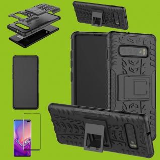 Hybrid Tasche Etuis Schwarz für Samsung Galaxy S10 G973F + 4D H9 Curved Glas Neu