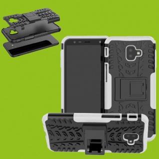 Für Samsung Galaxy J6 Plus J610F Hybrid Case 2teilig Outdoor Weiß Tasche Cover