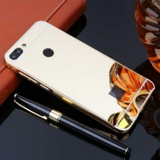 Spiegel / Mirror Alu Bumper 2teilig Gold für Huawei P Smart Tasche Hülle Cover