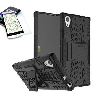 Hybrid Case 2teilig Schwarz für Sony Xperia XA1 Hülle + 0, 3 H9 Hartglas Tasche