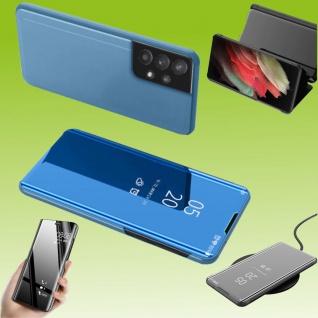 Für Samsung Galaxy A32 5G View Smart Cover Hülle Blau Handy Tasche Etuis Case