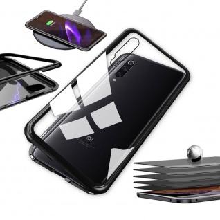 Für Xiaomi Mi 9 Lite Magnet Metall Glas Transparent Schwarz Tasche Hülle Etuis
