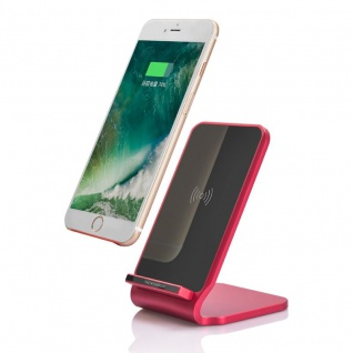 Induktive Schnellladestation 10W Ladestation Qi NFC Wireless Charger Dock Rot