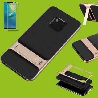 Standing Hybrid Tasche Etuis Gold für Huawei Mate 20 Pro + 4D H9 Curved Glas Neu