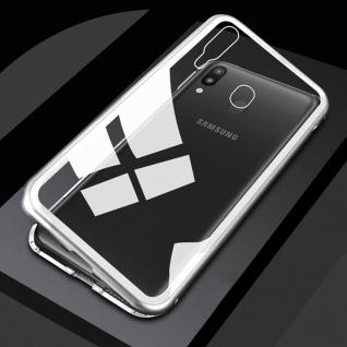 Für Samsung Galaxy M20 6.3 Magnet Metall Glas Transparent Silber Tasche Hülle