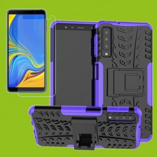 Für Samsung Galaxy A7 A750F Hybrid Tasche Outdoor 2teilig Lila + H9 Glas Cover
