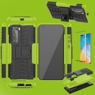 Für Huawei P40 Pro Hybrid Handy Tasche Hülle 2teilig Grün + 4D Curved H9 Glas