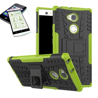 Hybrid Case 2 teilig Grün für Sony Xperia XA2 Hülle + 0, 3 mm H9 Hartglas Neu