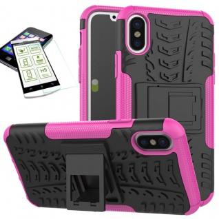 Hybrid Tasche Outdoor 2teilig Pink für Apple iPhone X / XS 5.8 Hülle + Hartglas