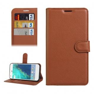 Bookcover Tasche Wallet Design für Google Pixel 5.0 Schutzhülle Hülle Etui Braun