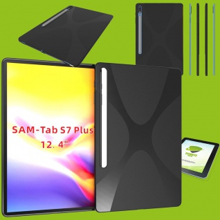 Silikon Hülle Cover Tablet Tasche Schwarz für Samsung Galaxy Tab S7 Plus / S7 FE + Glas