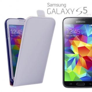 Fliptasche Deluxe Weiß für Samsung Galaxy S5 Mini G800 G800F Tasche Hülle Cover