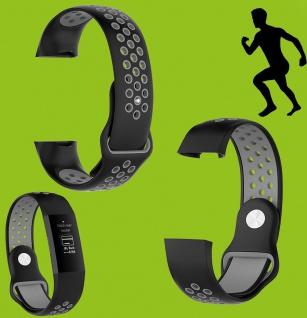 Für Fitbit Charge 3 Kunststoff Silikon Armband für Männer Größe L Schwarz-Grau